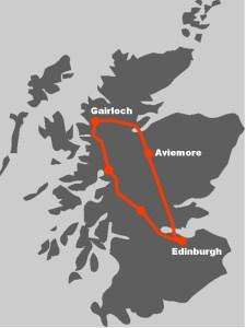 Die Route daemonstriert, wo die Familienreise in Schottland hinfuehrt.