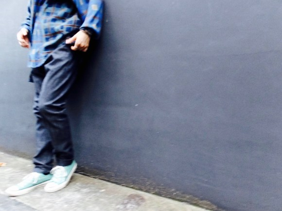 """roundabout"" Slim Denim Pants & Vintage Design Check Shirt Styling"