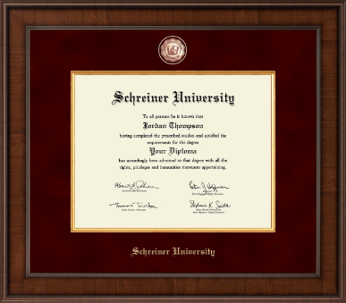 Presidential Masterpiece Diploma Frame in Madison with Maroon Suede mat