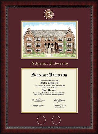 Weir Building Campus Scene (Photo by Autumn Rowlands '20) Masterpiece Diploma Frame in Sutton Maroon/Gold mats
