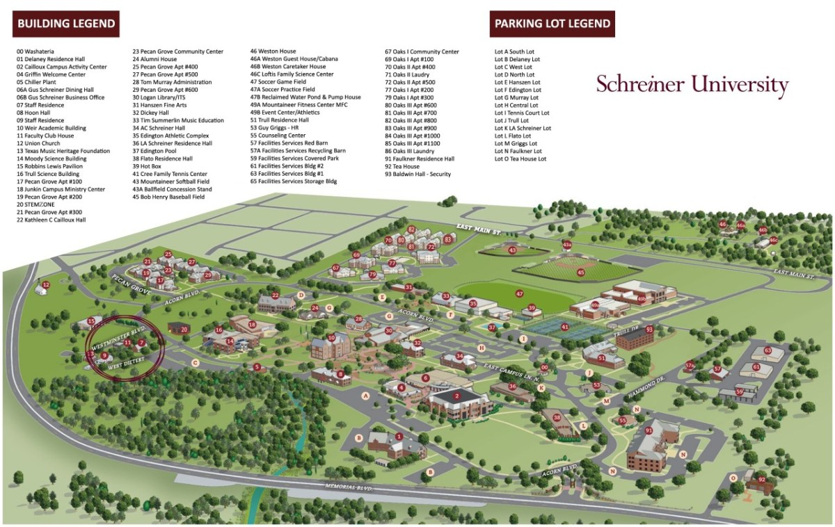 Image of Schreiner University Map 2019