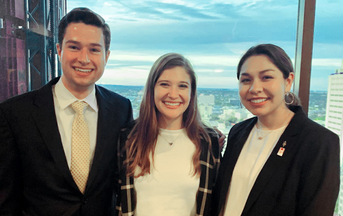 Schreiner University Deans and Honors Scholars, Matthew Walton, Katie Buerk and Sofia Lopez, at the 2020 San Antonio Fulbright Annual Banquet