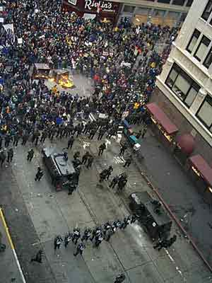 Police at WTO Riots in Seattle, 1999