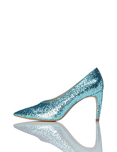 FIND Damen Glitter Court Pumps, Grün (Aqua), 39 EU