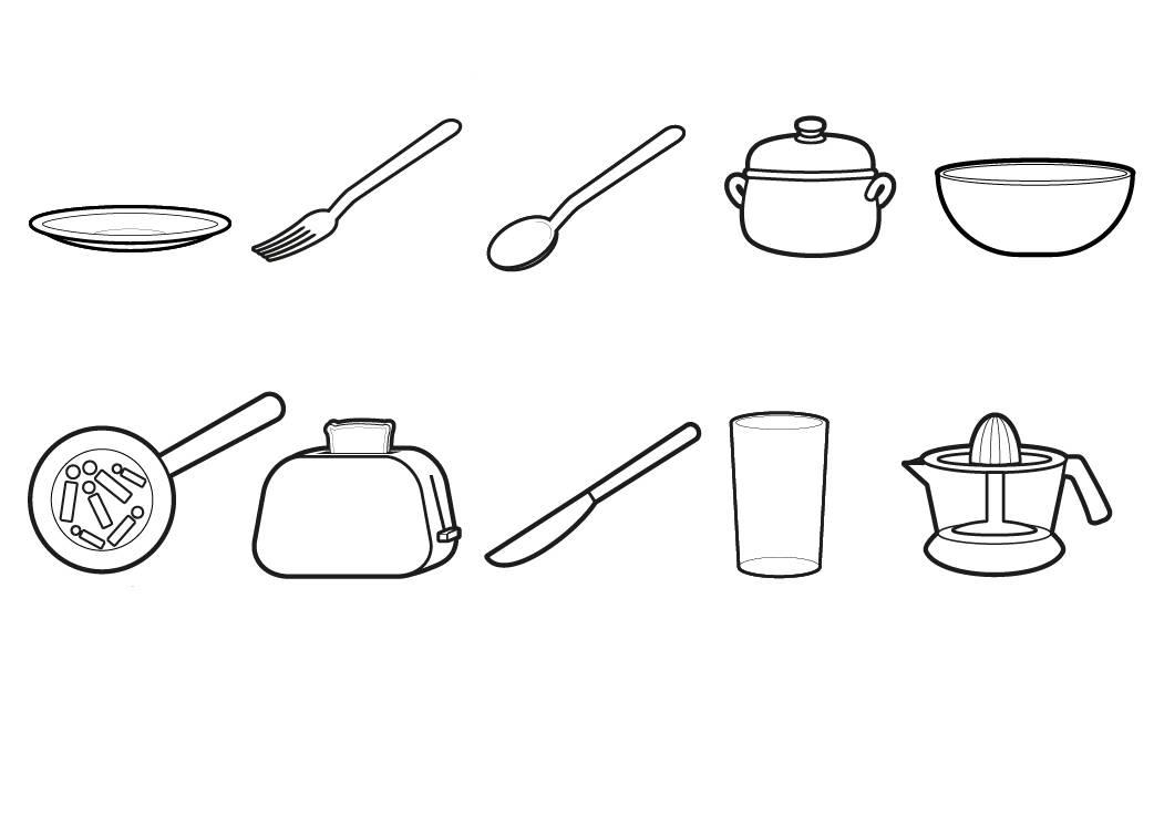 Kostenlose Malvorlage Menschen und ihr Zuhause Geschirr