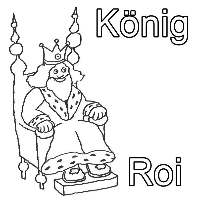 Kostenlose Malvorlage Französisch lernen König - Roi zum