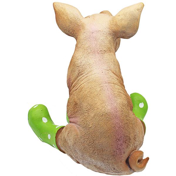 Gartenfigur Schwein grne Gummistiefel Dekofigur Sau