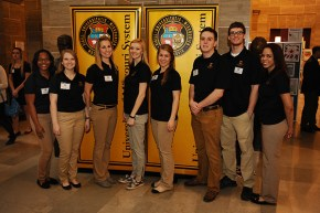 Undergraduate Research Day at the Capitol - March 11, 2015 Photo (Left to Right): Janae Judon, Lindsey Mirielli, Casey Gibbons, Samantha Fullington, Christine Carson, Jason Robke, Adam Kidwell, Briana Lynch.