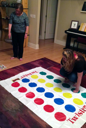 Lab dinner, Fall 2015: Heidi and Casey playing at Twister