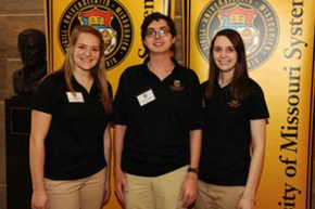 Undergraduate Research Day at the Capitol - March 11, 2015 Photo (Left to Right): Katelyn Waidmann, Wade Dismukes, Emily McMichael.