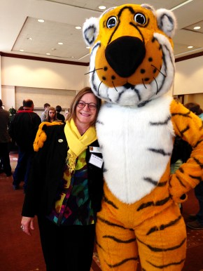 Heidi and Truman the Tiger at the picnic for the Summer undergraduate research programme 2014
