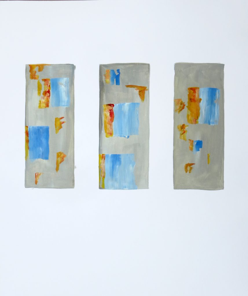 2019, untitled Triptych, 60 x 50 cm, Acrylic on Paper