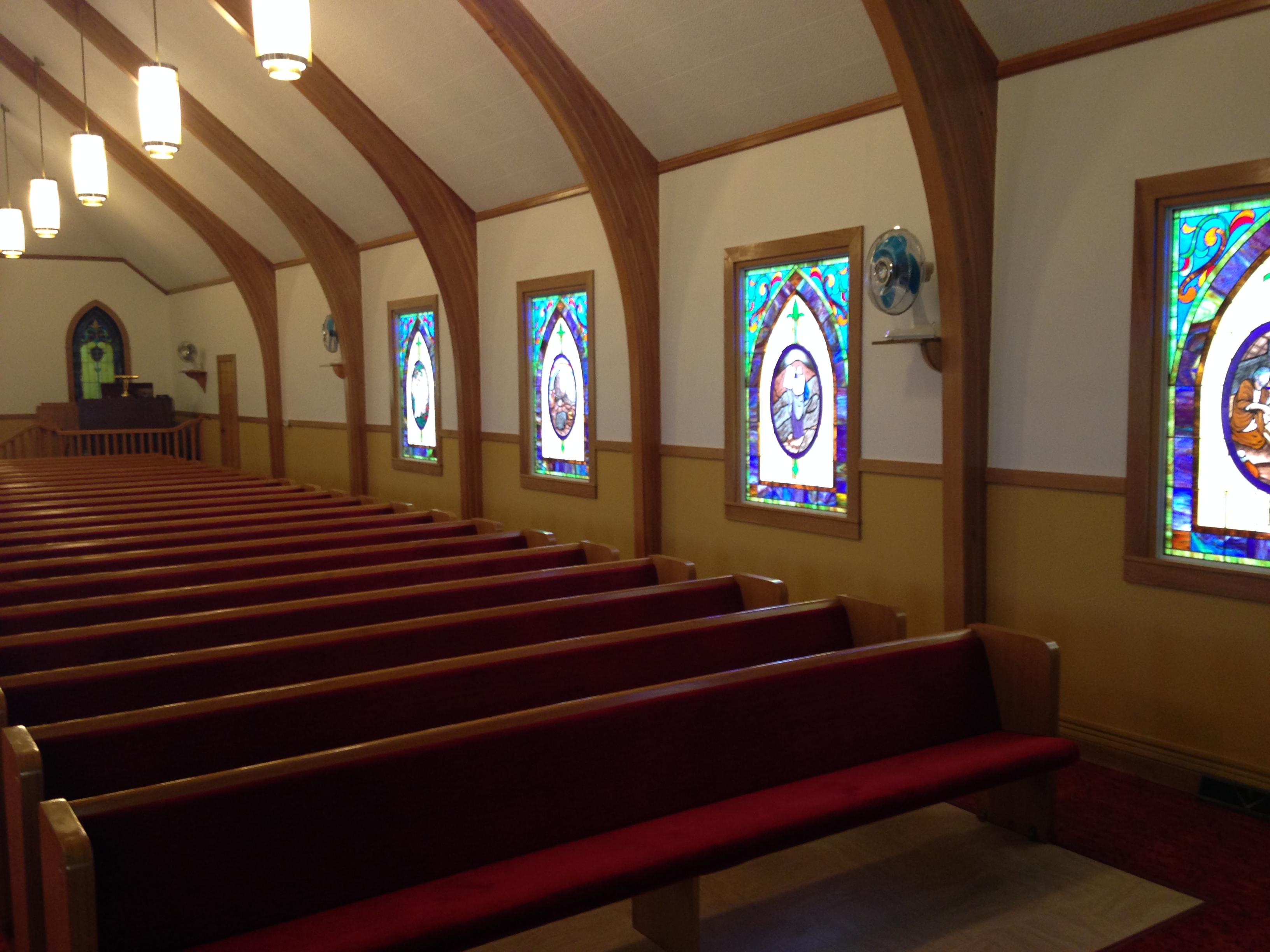 Church refurbishment  new carpet paint wood paneling