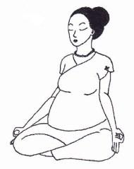 Schwangere Frau mit Gyan-Mudra