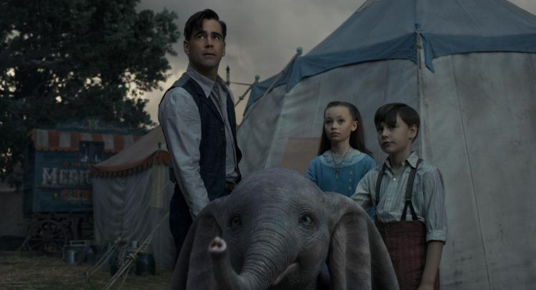 "SPECIAL ASSIGNMENT - In director Tim Burton's all-new live-action adventure ""Dumbo,"" former circus star Holt Farrier (Colin Farrell) and his children Milly (Nico Parker) and Joe (Finley Hobbins) are charged with caring for a newborn elephant whose oversized ears make him a laughingstock in an already struggling circus. Expanding on the beloved classic story where differences are celebrated, family is cherished and dreams take flight, ""Dumbo"" flies into theaters on March 29, 2019. ©2018 Disney Enterprises, Inc. All Rights Reserved."