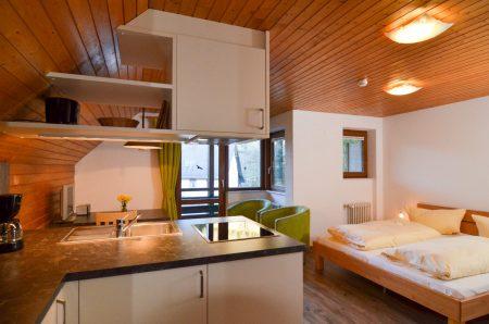1-Raum Apartment mit Dippelbett, Küchenzeile und Essecke