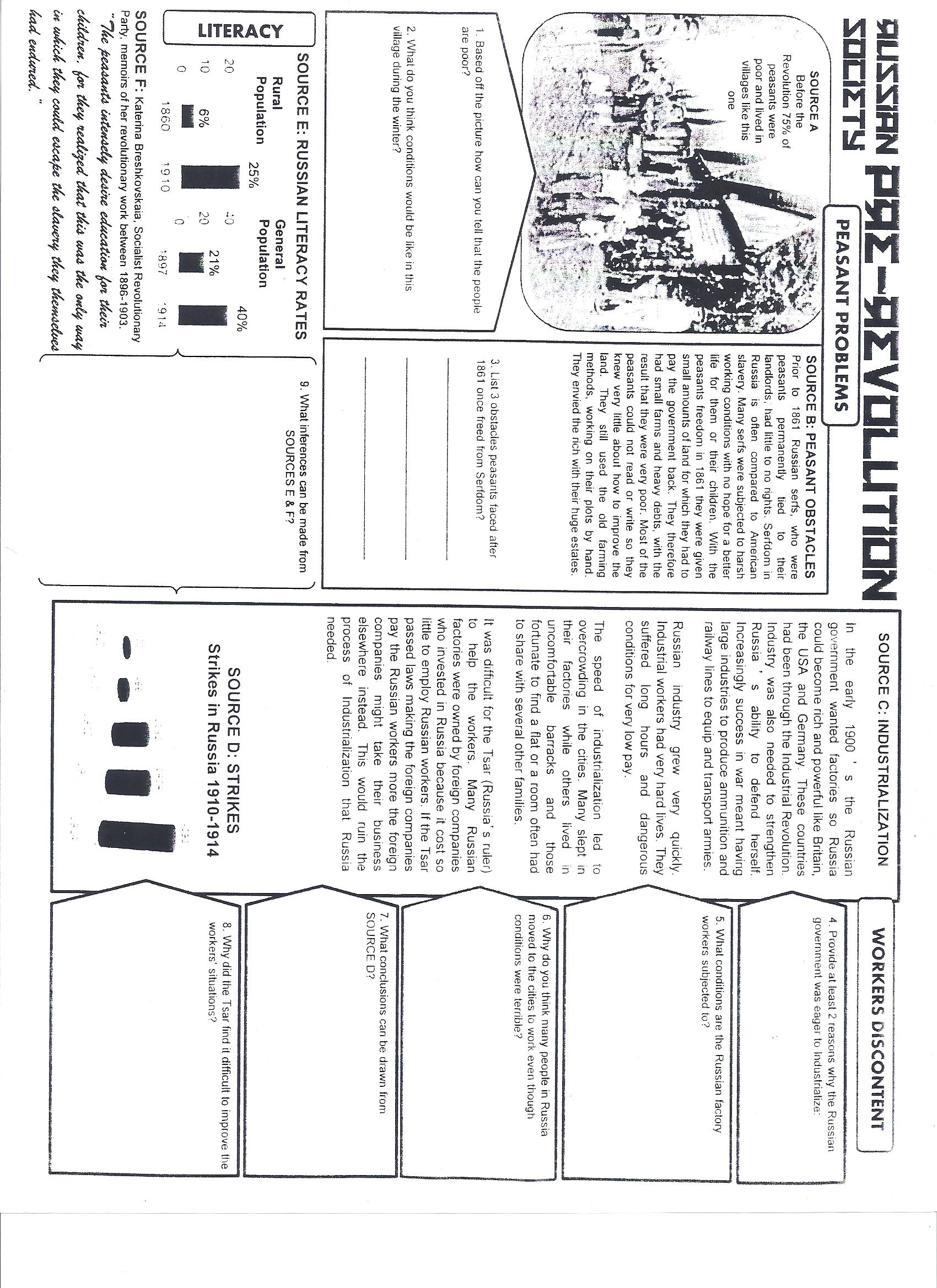 W. History Worksheets