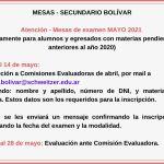 Mesas de examen – Secundario Bolívar