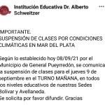 Suspensión de clases por condiciones climáticas