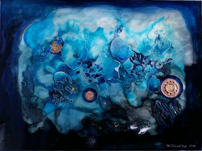 blue scenery with copper discs 4