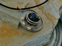 pendant stainless steel, bronze, brass, epoxym pigment, Sodalite, 2in diameter - 6