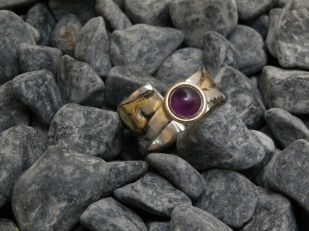 ring stainless steel brass fused, Amethyst 7mm size 10- 5