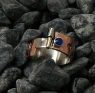 ring stainless steel, copper, tin, brass, blue Spinel 5mm size 11.5 -14