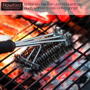 Profi Grillbürste - Extra langer Griff (45cm) - Premium BBQ Zubehör - 3 Edelstahl Bürsten in 1 Reiniger Werkzeug - Perfekt für Weber, Infrarot, Gas, Porzellan und Holzkohlegrills -