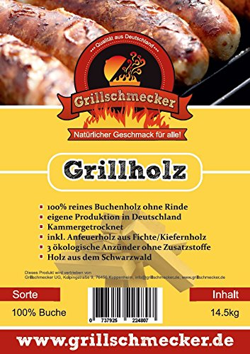 Grillholz Buche ohne Rinde incl. Anzünder und Anfeuerholz von Grillschmecker -