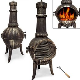 Terrassenofen aus Gusseisen - Gartenofen Gartenkamin Kamin Feuerstelle Feuerkorb - 1