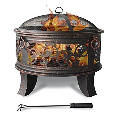 Feuerschale mit Funkenhaube - Stahl Feuerschale 66cm Feuerstelle schwarz Klassik Stil Feuerkorb robust Schürhaken Standbeine Schutzdeckel Funkenhaube - 1