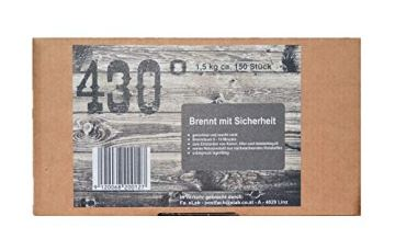 430° Öko Anzünder - 1,5 kg ca.150 Stk.- Kaminanzünder | Ofenanzünder | Grillanzünder | Brennholzanzünder | Holzkohle | Briketts | Kaminholz | Premium-Holz & Wachs | Top Qualität - 4