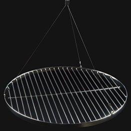 DRULINE Ø 53 cm Grillrost Rund Schwenkgrill Rost Grill Edelstahl mit Seil - 1