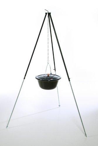 Original ungarischer Gulaschkessel (22 Liter) + Dreibein-Gestell (180cm) ✓ Emailliert ✓ Kratzfest ✓ Geschmacksneutral | Teleskop-Dreifuß mit Gulasch-Topf, Suppentopf, Glühweintopf | Kochkessel mit Deckel für Kesselgulasch, Glühwein-Kessel im Set - 1