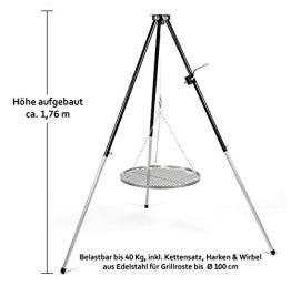 Hero Dreibein Schwenkgrill Grillgestell mit Kurbel & Edelstahl Grillrost 70 cm - 1
