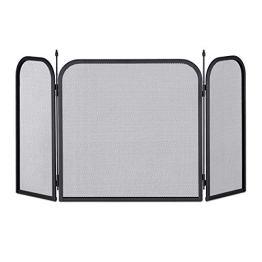 Relaxdays Funkenschutzgitter Stahl, dreiteiliges Gitter gegen Funkenflug, Kamin Funkenschutz, HxB 52,5 x 97 cm, schwarz - 1