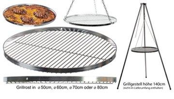 Brandsseller Edelstahl Grillrost Schwenkgrill geeignet - Rostfrei Edelstahl 18/0 Asi 430 Nickel frei - Ø 70 cm - 5