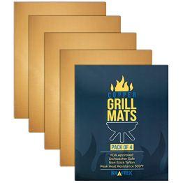 Kraftex Kupfer Grillmatten 4 GROSSE Packung. Kupfer-Grillmatten Antihaftbeschichtung für Grills, Öfen und Backen. Grillmatten für Gasgrill, Holzkohle oder Elektro. - 1