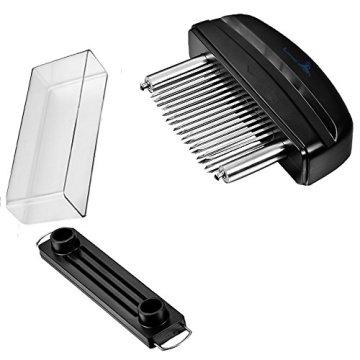 Fleisch-Tenderizer - Professionelles Kommerzielles Küchenwerkzeug mit 48 Klingen aus rostfreiem Stahl mit Rasiermesser(Black) - 6