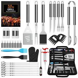 AISITIN 35er BBQ Grillbesteck Tool Set Grillset mit Grillmatte Hochwertiger Edelstahl für Garten und Camping Grillzubehör BBQ für Männer und Frauen Ink. Koffer - 1