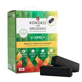 McBrikett KOKOKO LONG Premium Grillkohle, 8 kg Bio Kokos Grillbriketts - 1