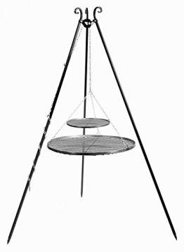 JS GartenDeko Schwenkgrill H 180 cm mit Doppelrost aus Rohstahl 70 cm + 40 cm Dreibein Grill Tripod Grillen CookKing - 1