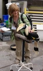 Kathryn with hornbill. Photo: Emily Damstra