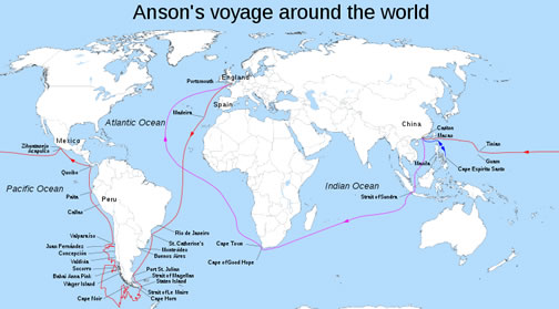 Route of Anson's Voyage