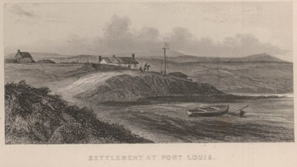 Port Louis engraving based on Conrad Marten's sketch