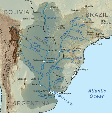 Central South America drainage system