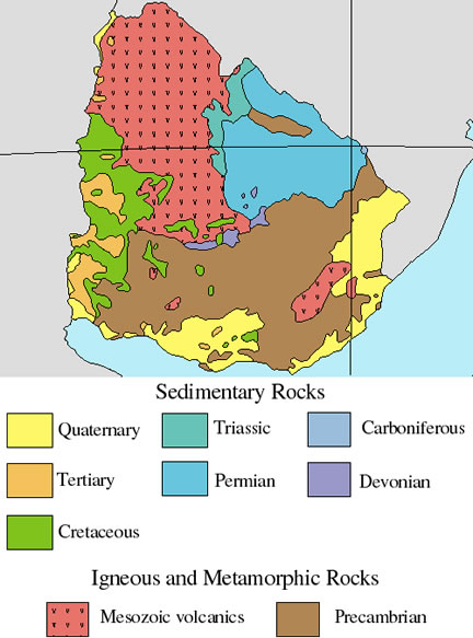 geologic map of Uruguay