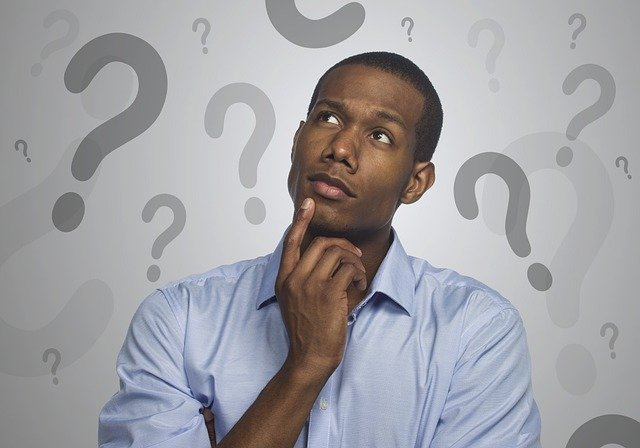 man thinking about a question