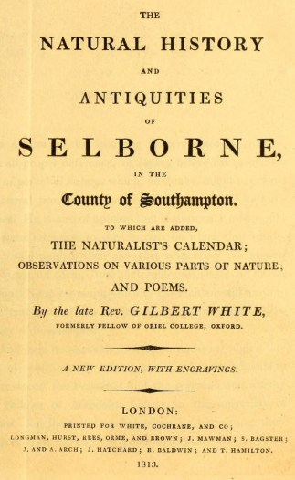 White's Selborne 1813 title page  By Gilbert White (1720-1793) [Public domain], via Wikimedia Commons
