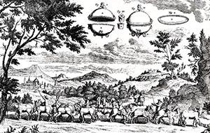 Das bis heute berühmte Magdeburger Experiment Guerickes: Zwölf Pferde reißen die Halbkugeln nicht auseinenader.